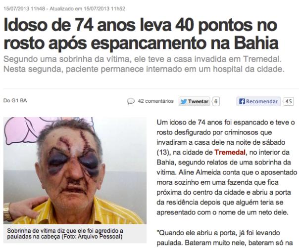 Violência Idoso Espancado Bahia